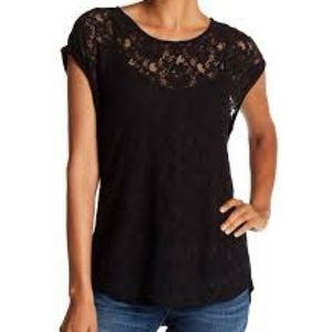 DR2 by Daniel Rain top black lace front sheer tee